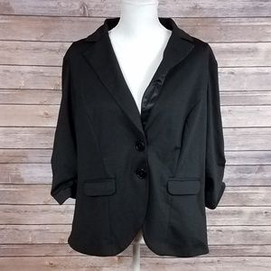 Torrid Black 2Button Bunched Sleeved Jacket/Blazer